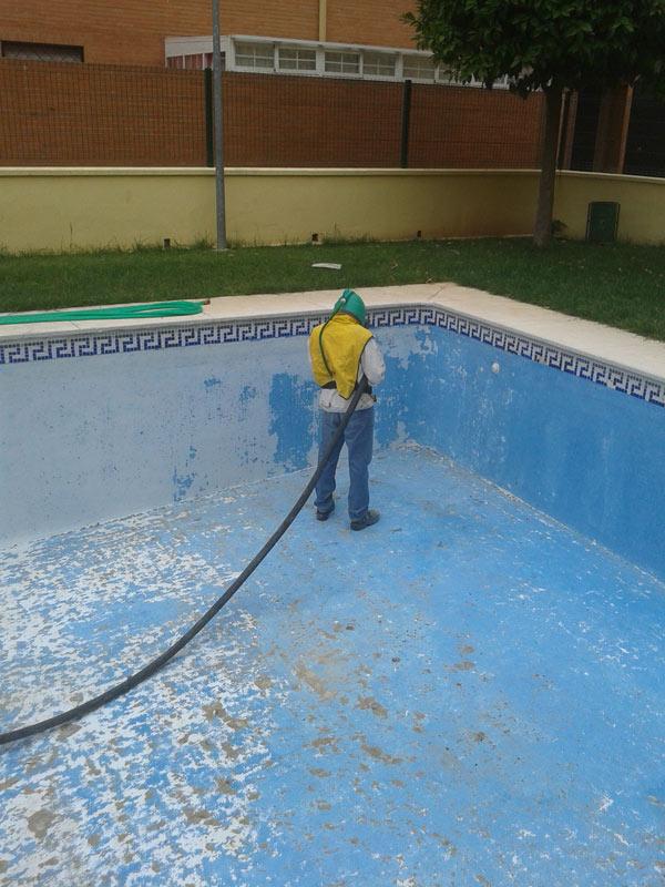 Chorros de arena en piscinas pinturas losan for Chorros para piscinas